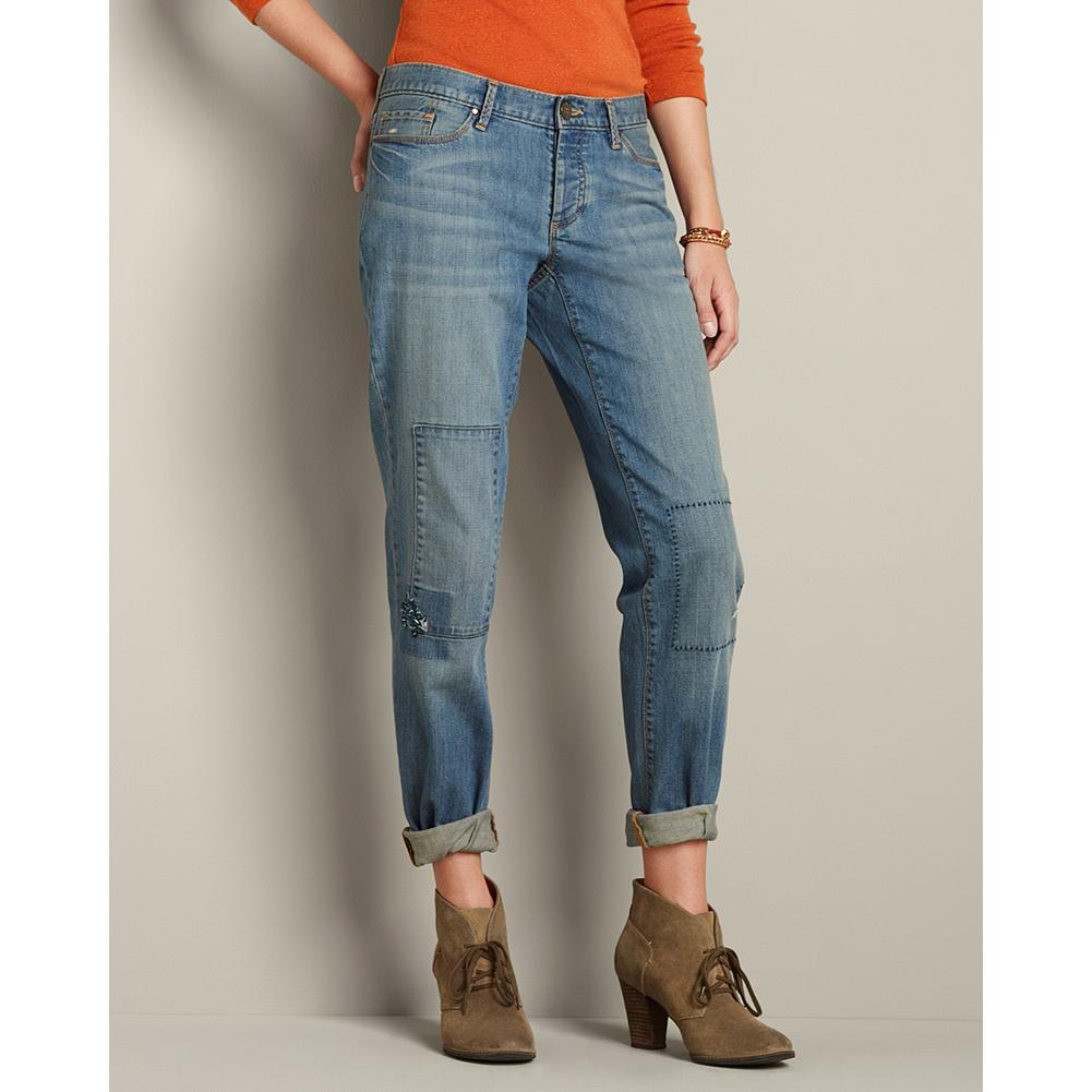 Eddie Bauer Boyfriend Patched Jeans - Sits below natural waist. Relaxed hip and thigh. Straight leg. Inspired by Stine Bauer's own habit of customizing her clothes, we've added patches, pick-stitching and embroidery to these jeans to create a more feminine look. Authentic dry processing for a natural, lightly worn-in wash. Button fly. Imported. - $19.99