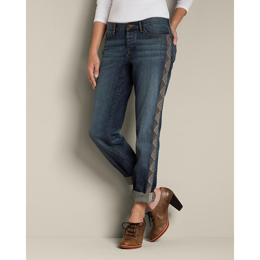 Eddie Bauer Boyfriend Regional Jeans - Sits below natural waist. Relaxed hip and thigh. Denim you'll want to live in, with Northwest-inspired embroidery along each side seam for flair. Subtle dry process creates a nice, dark wash. Straight leg. Button fly. Imported. - $19.99