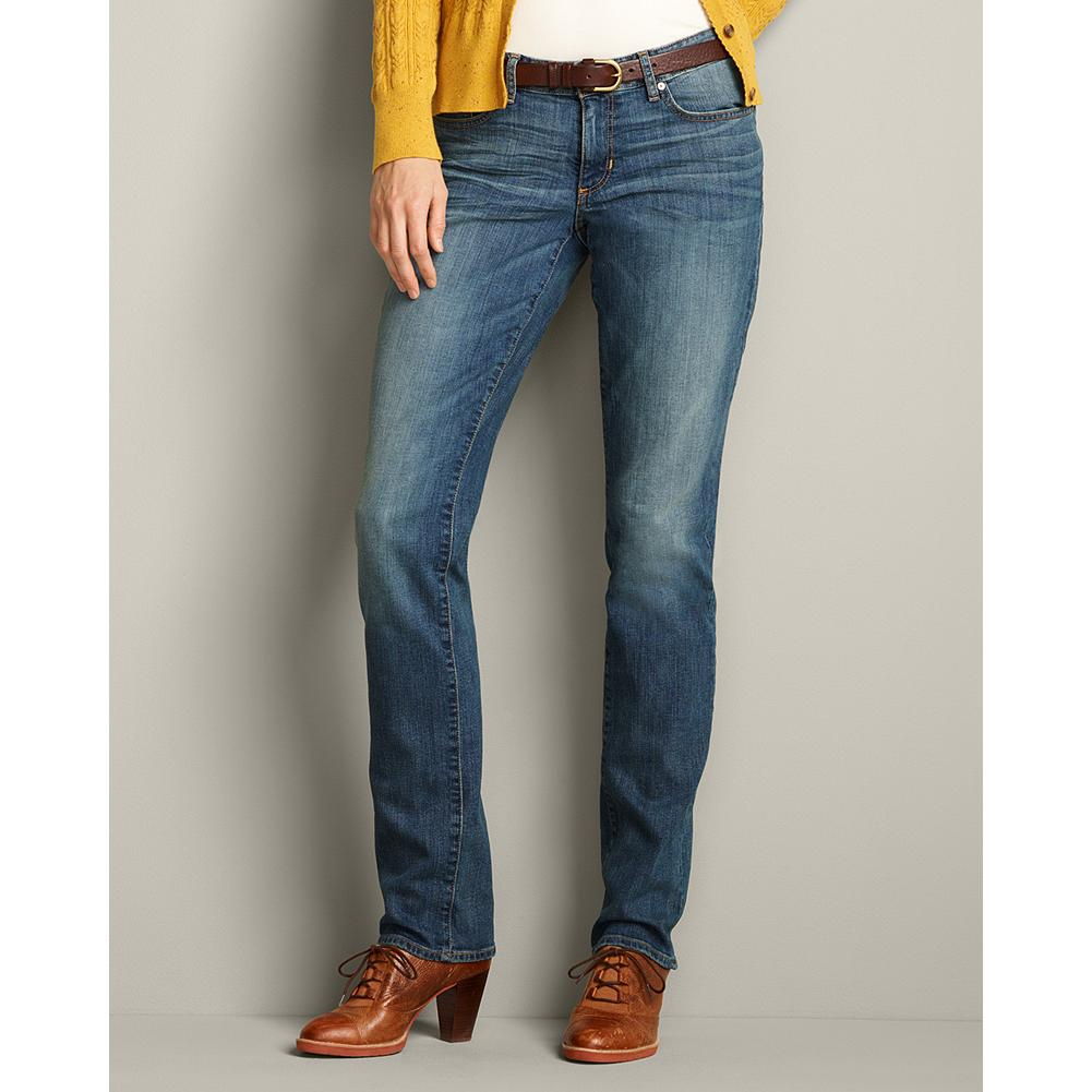 Eddie Bauer Slightly Curvy Straight Leg Jeans - Sits below natural waist; mid-rise. Moderately curvy through hip and thigh. Straight leg. Antique Blue is a classic mid-tone wash tinted for an aged effect. Subtle hand-sanding and whiskering add the perfect finishing touch. - $59.95