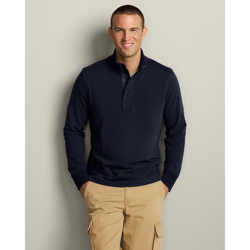 Eddie Bauer Lightweight Brushed 1/4 Zip Pullover - Our lightweight 1/4-zip pullover is just right for days that require more style than a hoodie can deliver. Covered zip storm placket. Antiqued brass zipper. Legend Wash cotton. Classic fit. Imported. - $14.99