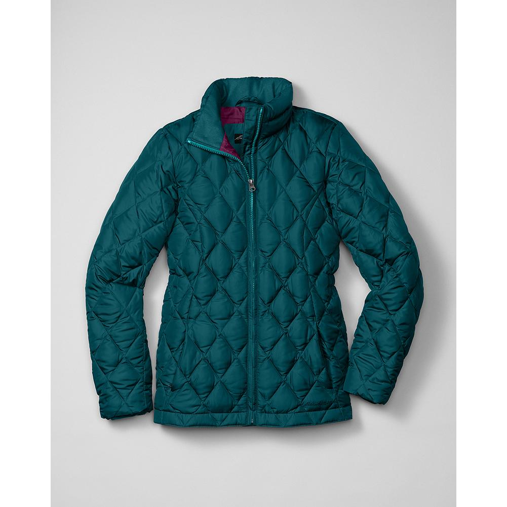 Entertainment Eddie Bauer Girls' Classic Down Jacket - Mountain Guide in Training(TM) This smaller version of our Classic Down Jacket is insulated with 550 fill Premium European Goose Down to keep active girls warm and comfortable all winter long. Durable polyester shell. Cozy stand-up collar. Zippered handwarmer pockets. - $29.99