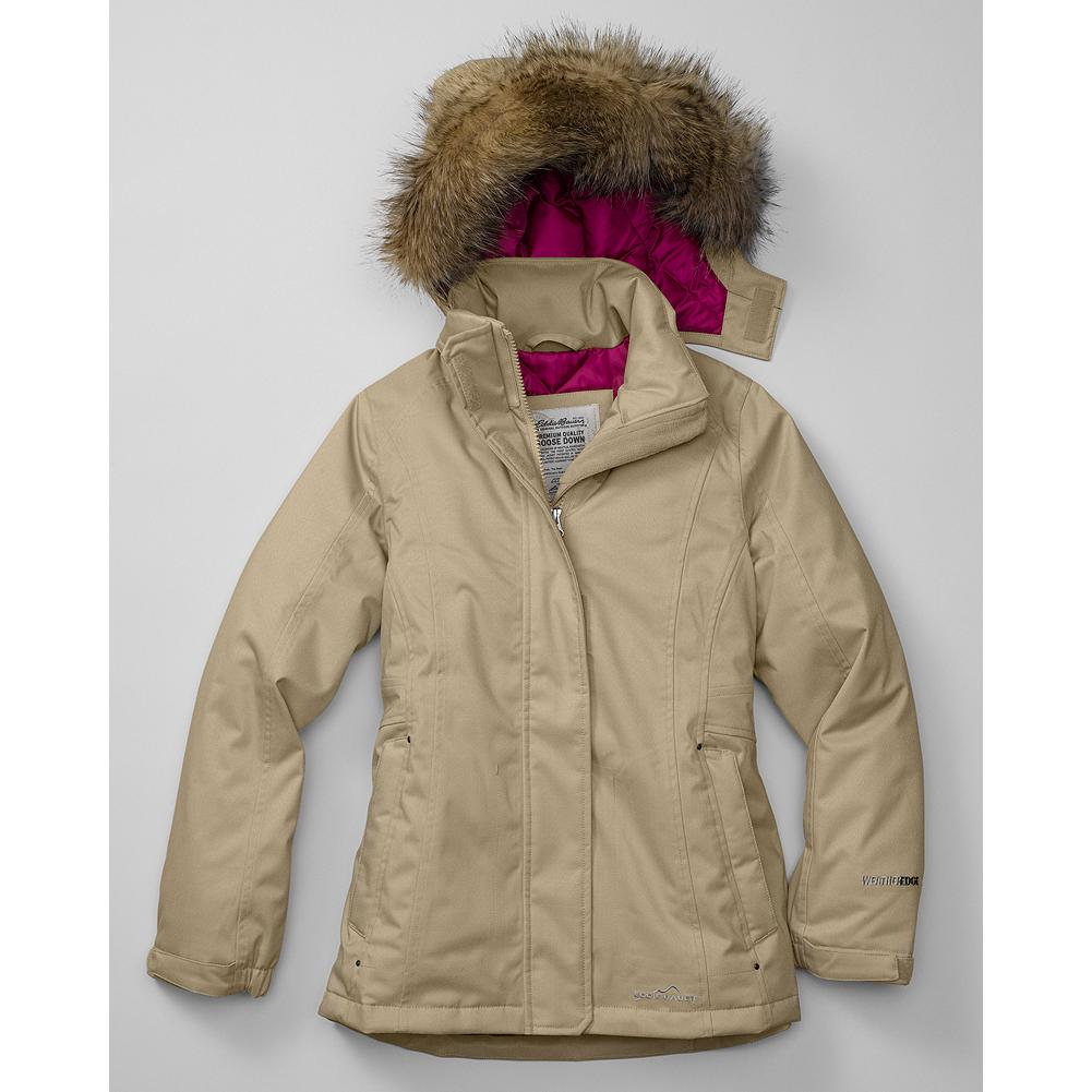 Entertainment Eddie Bauer Girls' WeatherEdge Superior Down Parka - Mountain Guide in Training(TM) The name says it all - a smaller version of our exceptionally built WeatherEdge down parka with 550 fill-power Premium European Goose Down in waterproof, breathable polyester. Fully seam-sealed with a removable faux fur ruff, removable and adjustable hood. Side-zip hand warmer pockets; internal pocket. Hidden two-way zip front with Velcro closure. Elasticized, adjustable sleeve cuffs and internal fleece sleeve cuffs keeps the cold weather out. - $129.00