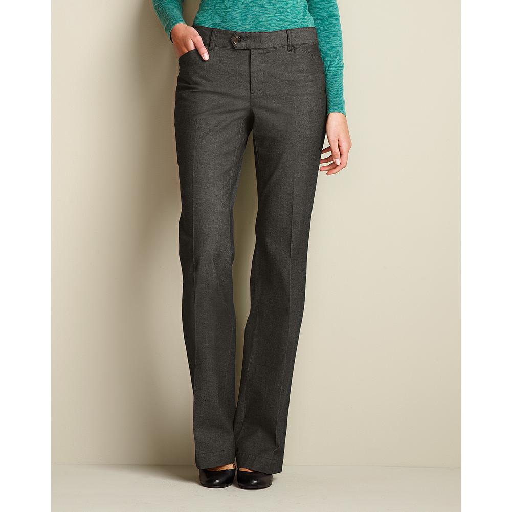 "Entertainment Eddie Bauer Curvy Blakely Cotton Melange Trousers - Smaller waist; mid-rise. Fuller hip and thigh. True hourglass body shape. Yarn-dyed cotton/spandex fabric and a subtle allover pattern give these trousers a subtle sense of rich texture. Detailed with curve-friendly pocket shapes and button tabs on the back waistband. Imported.    The inseam length for this style increased an inch, to better align with industry standards. Regular: 33"", Petite 30"", and Tall 36"". - $29.99"