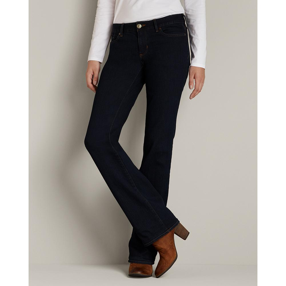 "Eddie Bauer Truly Straight Bootcut Jeans - StayShape - Straight waist; mid-rise. Less full seat. Smaller thigh. Rectangular body shape. Classic bootcut leg with traditional 5-pocket styling. Made with special StayShape denim: this soft, slimming fabric stretches for a perfect fit that never loses its shape. For a more fitted look, please order one size down. Overdyed in deep rinse. Imported.   The inseam length for this style increased an inch, to better align with industry standards. Regular: 33"", Petite 30"", and Tall 36"". - $69.95"