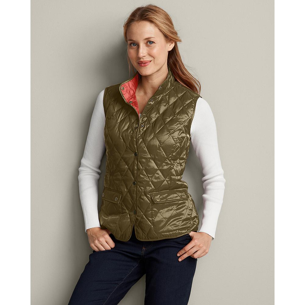 Eddie Bauer Heritage Down Vest - This down vest was Inspired by Eddie's first catalog, where the women's diamond-quilted down jackets set the standard for performance and style. Toasty 550 fill Premium European Goose Down insulation. Snap closure; stand-up collar. Feminine silhouette with princess seams. Diamond quilting; contrast-color lining. Classic fit. Polyester. Imported. - $29.99