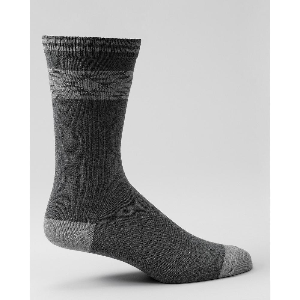 Entertainment Eddie Bauer Geometric Pattern Crew Socks - An ultra-soft acrylic and merino wool-blend pulls moisture away from the skin to keep your feet dry and comfortable all day long. Pacific Northwest-inspired pattern at the cuff. Imported. - $5.99