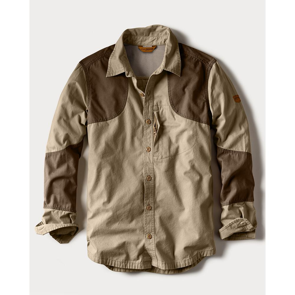 Hunting Eddie Bauer Okanogan Hunting Shirt - A great overall canvas hunting and shooting shirt. Heavier-weight cotton than the Palouse. Shooting patch overlays for left or right hand, with forearm gun abrasion overlays. Can be worn as an overshirt. Mesh vented back. Small zippered front security pocket. Unique, dense but still breathable, weave that keeps brush at bay and the user cool and comfortable. Imported. - $89.95