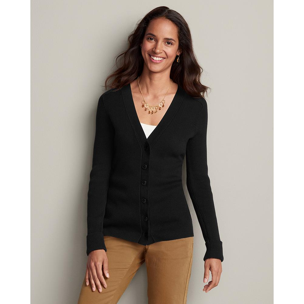 Eddie Bauer Medina Cardigan - Classic and versatile, our V-neck cardigan makes a fabulous foundation piece for your wardrobe. It's made of fine-combed, ribbed cotton blended with a touch of nylon to retain its overall smooth shape. Gently fitted, so it's ideal for layering under a jacket or blazer. Turnback cuffs. Shaped fit. Imported. - $14.99