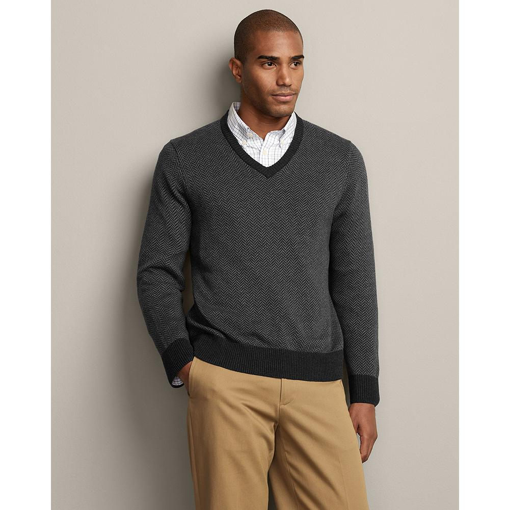 Entertainment Eddie Bauer Sportsman Cotton/Cashmere Herringbone V-Neck Sweater - Classic lines and a unique herringbone texture make this sweater the perfect complement to our wrinkle-free dress shirts and more. Rib-knit cuffs and hem. Classic fit. Imported. - $19.99