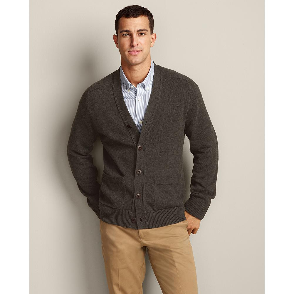 Entertainment Eddie Bauer Sportsman Cotton/Cashmere Cardigan Sweater - Refined, blended yarns of high-quality cotton and cashmere give our cardigan sweater superior softness, shape retention, and color fastness. Smooth, fine-gauge construction includes full-fashioned sleeves to eliminate any bulk at the armholes, making it ideal for layering under a blazer or jacket, or wearing alone. - $69.99