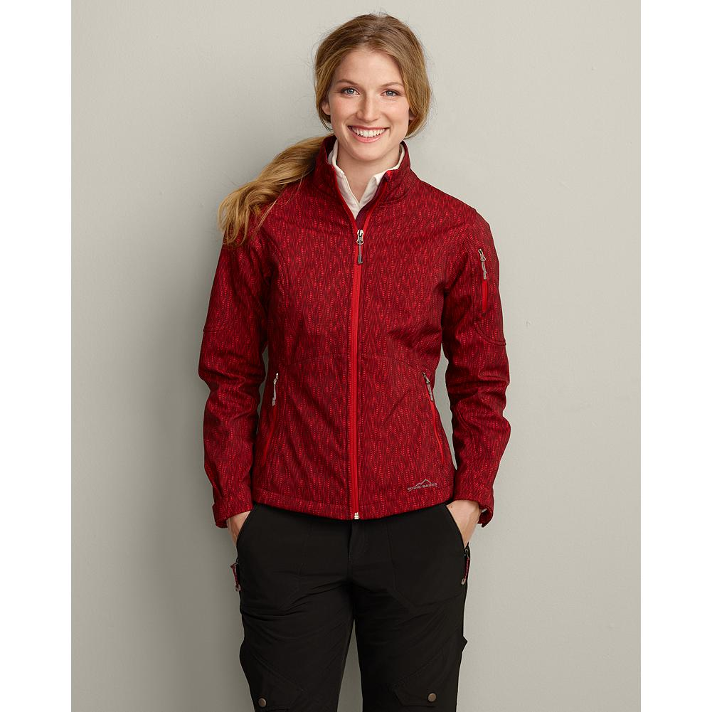 Eddie Bauer Printed Windfoil Elite Softshell Jacket - This wind- and water-resistant softshell jacket breathes extremely well and stretches for a liberating range of motion during any outdoor activity. It's made of polyester/spandex and styled with a full-zip front, stand-up collar and zippered front pockets. Adjustable cuffs and drawcord at the hem seal out the cold. Imported. - $39.99