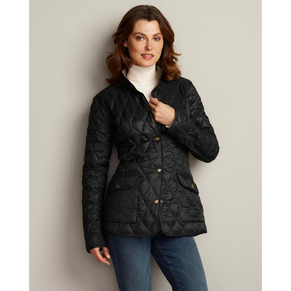 Auto and Cycle Eddie Bauer Heritage Down Car Coat - Our classic car coat was inspired by Eddie's first catalog in 1945, when the women's diamond-quilted down jackets set the standard for performance and style. The modern version features 550 fill Premium European Goose Down, a feminine hip-length silhouette, and contrast-color lining. It's a great lightweight option for not-too-cold days. - $29.99