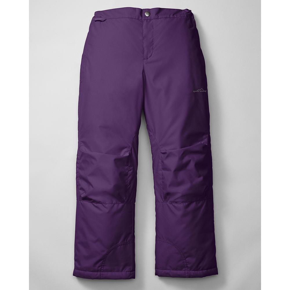 "Entertainment Eddie Bauer Girls' Snowfoil Pants - Mountain Guide in Training(TM) Keep your little snow bunny warm and toasty whether the day calls for snowball battles in the backyard or an action-packed day on the slopes. Adjustable waist with zip fly, articulated knees, snow cuffs, and a ""grow feature"" that allows for extra length so that they'll fit for more than one season of snow. Polyester. - $49.95"