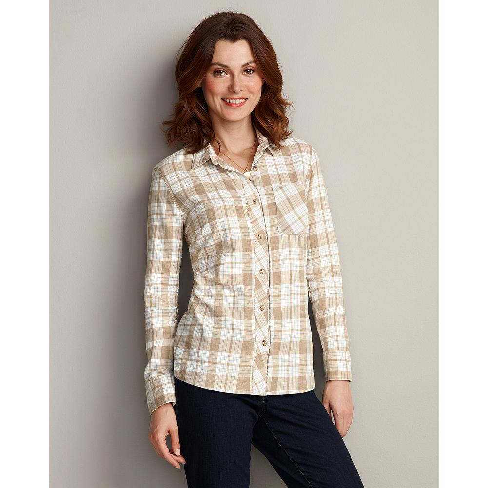 Eddie Bauer Mid-Weight Flannel Button-Down Shirt - Lovely saturated yarn-dye plaids take center stage in this timeless style. Soft cotton flannel makes the perfect weight for layering, and the feminine fit and back darts complete the look. Shaped fit. Imported. - $19.99