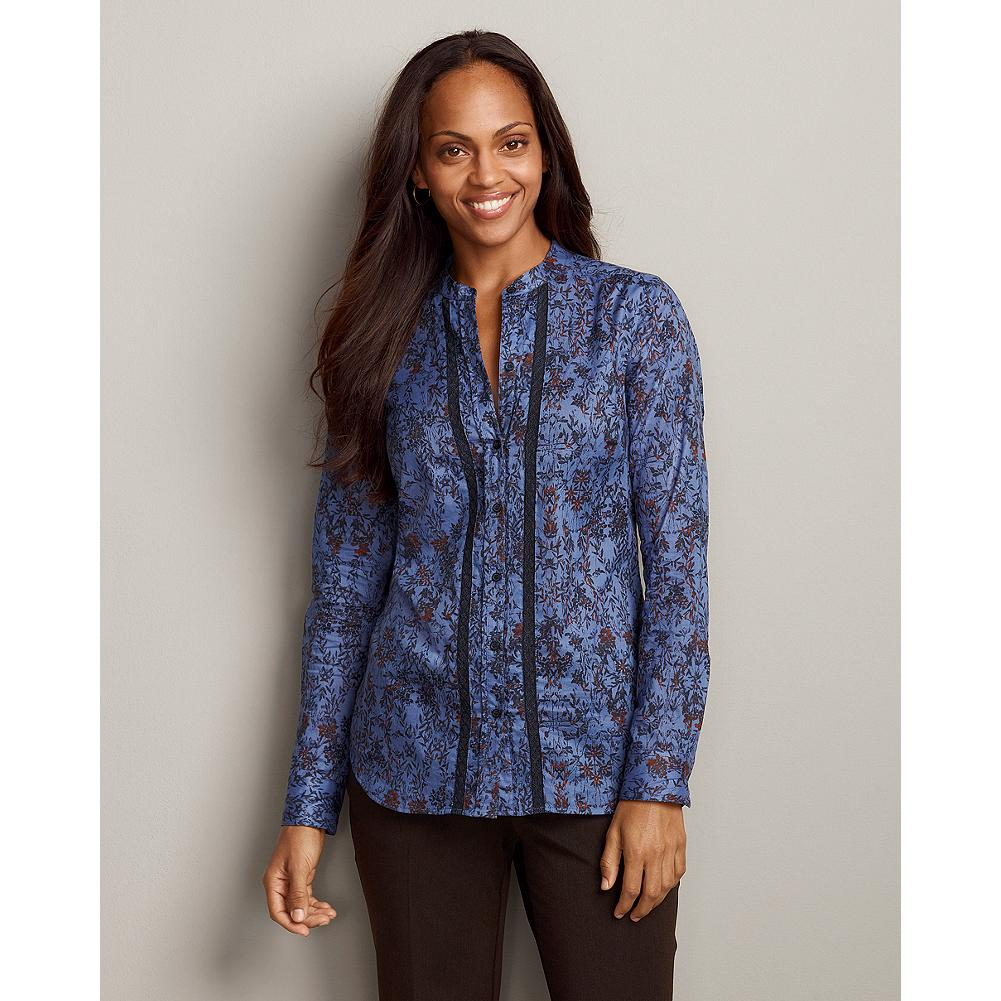 Eddie Bauer Long-Sleeve Lace-Inset Printed Shirt - Feminine lace-inset details and printed cotton lawn make our field shirt just as pretty when worn alone as when layered. Delicate lace panels frame the placket. Banded collar; one-button barrel cuffs. Classic fit. Imported. - $14.99