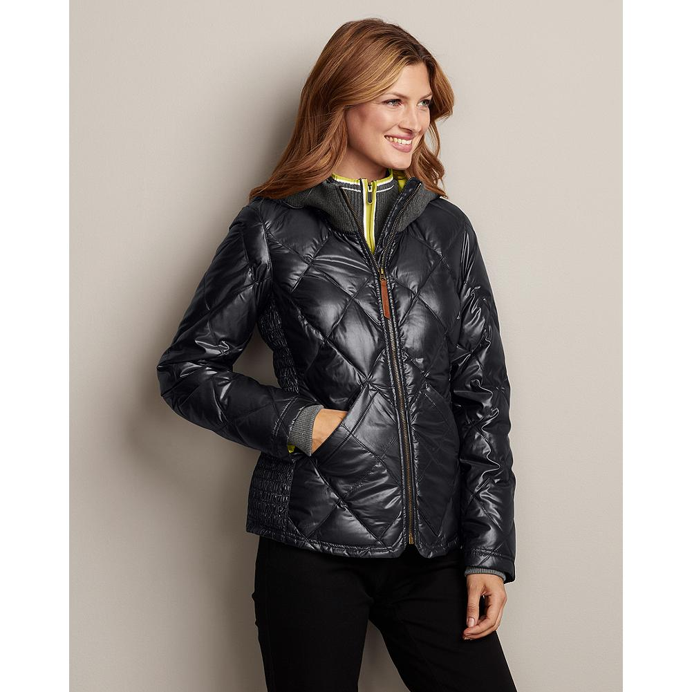 "Eddie Bauer 1936 Skyliner Model Ruched Jacket - Inspired by Eddie's original Skyliner Model down jacket, our new version boasts a sleek modern look and exceptional cold-weather performance. Ruched sides add comfort and slimming style to a design already based on warmth without bulk, while the hood's knit opening provides a touch of flair to the practicality of keeping out drafts. Zip front; secure pockets. Classic fit. 550 fill Premium European Goose Down; polyester/nylon shell with StormRepel DWR finish. Length: 25"". Machine wash. Imported.  WEATHER RATING: COLD 20degF to 40degF (-6degC to 4degC) - $49.99"
