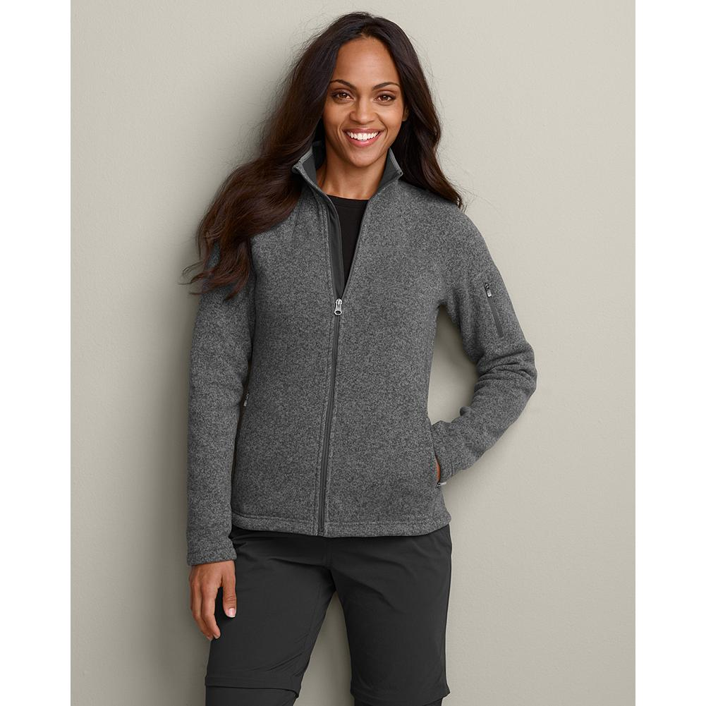 Eddie Bauer Full-Zip Sweater Fleece - Our great-looking heathered fleece is perfect for everything from winter snow touring to relaxing in the lodge. Full-zip front. Handwarmer pockets; sleeve pocket is perfectly sized for a key, cash or credit card. Zippered handwarmer pockets. Active fit. Polyester. Imported. - $39.99