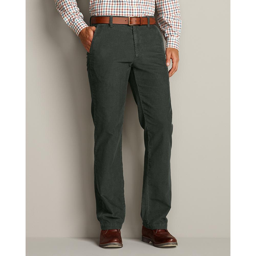 Entertainment Eddie Bauer Classic Fit Flat-Front Corduroy Pants - Handsome and low-maintenance, our plush 14-wale corduroy trousers dress up nicely but can be worn casually as well. Two front and two button-through back pockets. Custom hemming. Classic fit. Imported. - $19.99