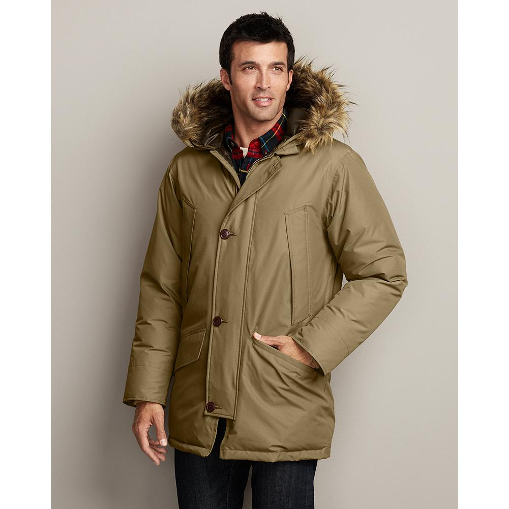 Fitness Eddie Bauer 1945 Icelander Model Parka - A re-creation of one of Eddie's earliest and longest-running styles, the Icelander was itself inspired by the flight jacket he made for the U.S. Army Air Forces during World War II. Updated with new water- and wind-resistant fabric and a detachable faux-fur ruff on the integrated hood. Insulated with 600 fill Premium European Goose Down. Four secure front pockets. Cotton/nylon. Imported.   WEATHER RATING: ARCTIC COLD -30degF (-34degC) - $99.99