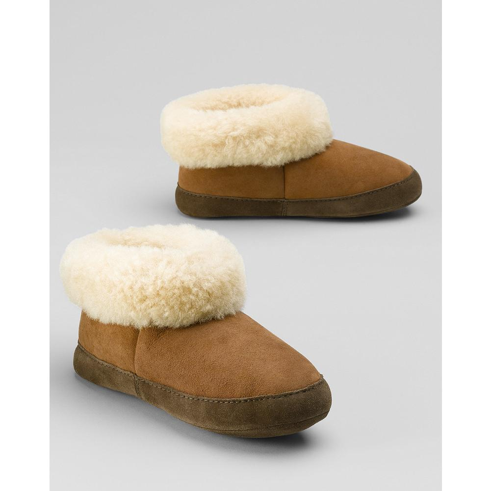 Entertainment Eddie Bauer Women's Shearling Boot Slippers - Classic shearling slippers have ankle coverage for extra warmth. Imported. Imported. - $99.95