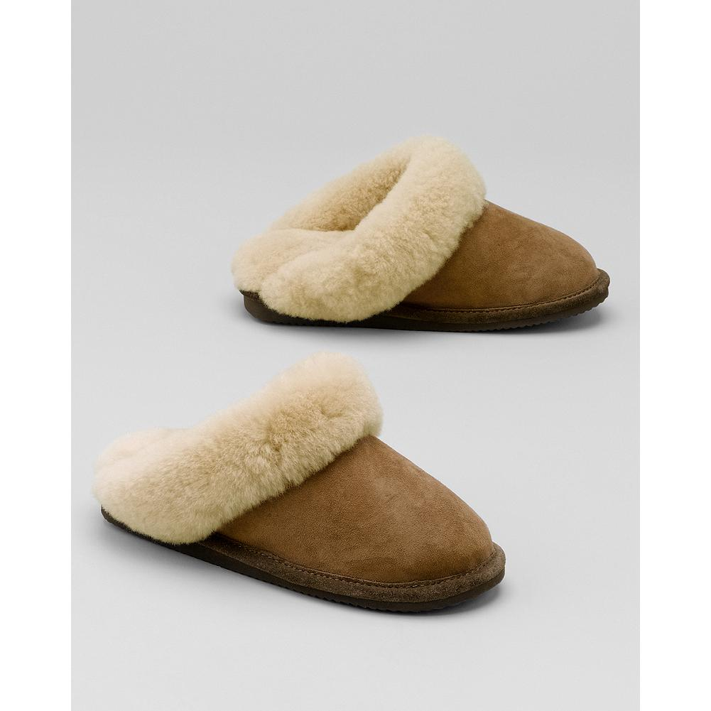 Entertainment Eddie Bauer Women's Shearling Scuff Slippers - Relaxing is easy in these shearling-lined scuff slippers. Imported. - $89.95