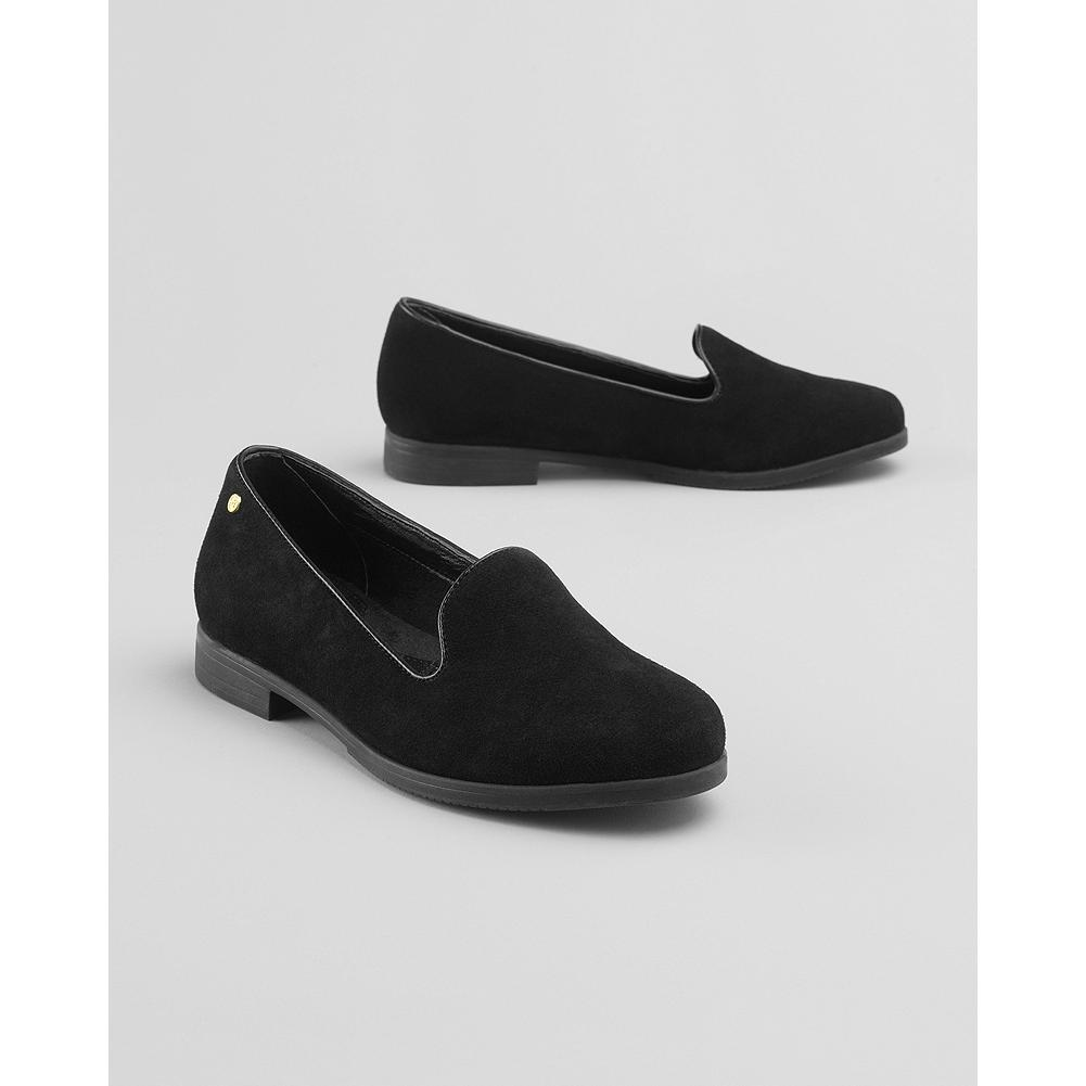 Eddie Bauer Bass Lucille Slip-On Shoes - A casual spin gives Bass' traditional slip-on shoes even more versatility. Suede upper. Memory foam cushioned insole. Flexible rubber sole. - $19.99