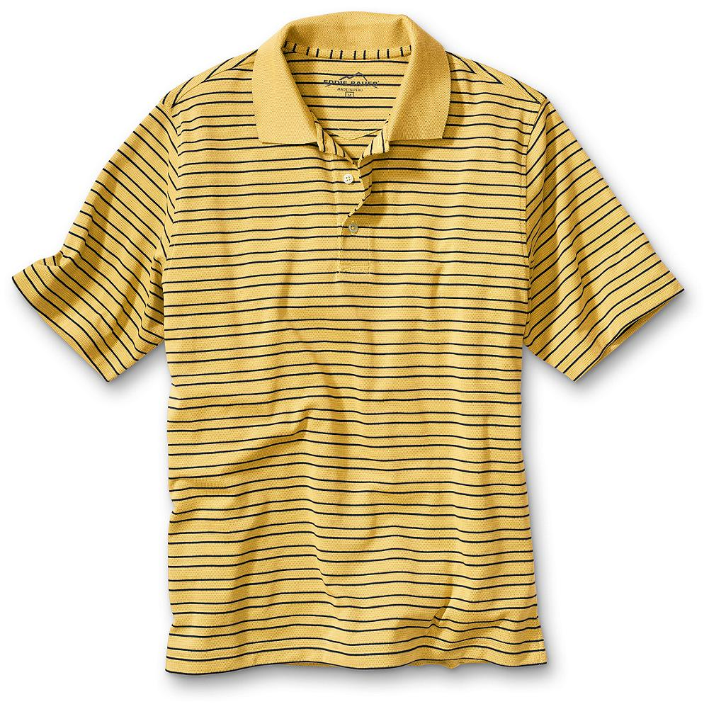 "Entertainment Eddie Bauer Classic Fit Stripe Performance Polo Shirt - Our exclusive performance polo features pima cotton blended with Cocona natural technology(TM). It dries fast, blocks the sun's harmful rays, and keeps you cool and dry. What's more, since the technology is embedded in the fiber, the benefits won't wash or wear out. Enjoy outstanding comfort and performance on the green, at the office or out on the town. UPF 50, fast-drying, odor resistant, moisture wicking and long lasting. Button placket. Classic fit. Length: 28.5"". Imported. - $9.99"