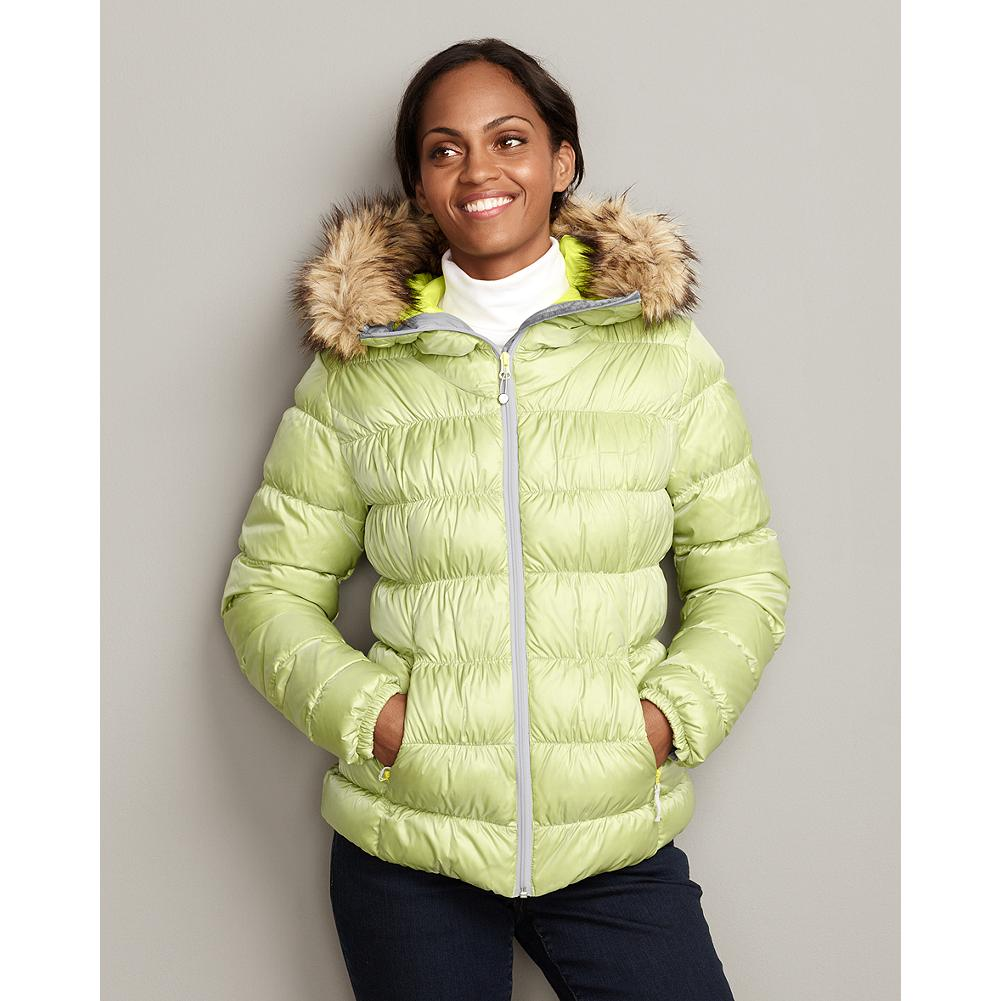 Eddie Bauer Northern Aurora Down Jacket - Different fabric colors in the shell and baffling of this jacket create a subtle, shimmering effect, reminiscent of the Aurora Borealis. Its 550 fill Premium European Goose Down and integrated hood with a detachable faux-fur ruff will keep you warm all winter, while adjustable side-seam drawcords allow you to change the length and create a fitted, flattering look. WEATHER RATING: VERY COLD 0degF TO 20degF (-17degC TO -6degC) - $59.99