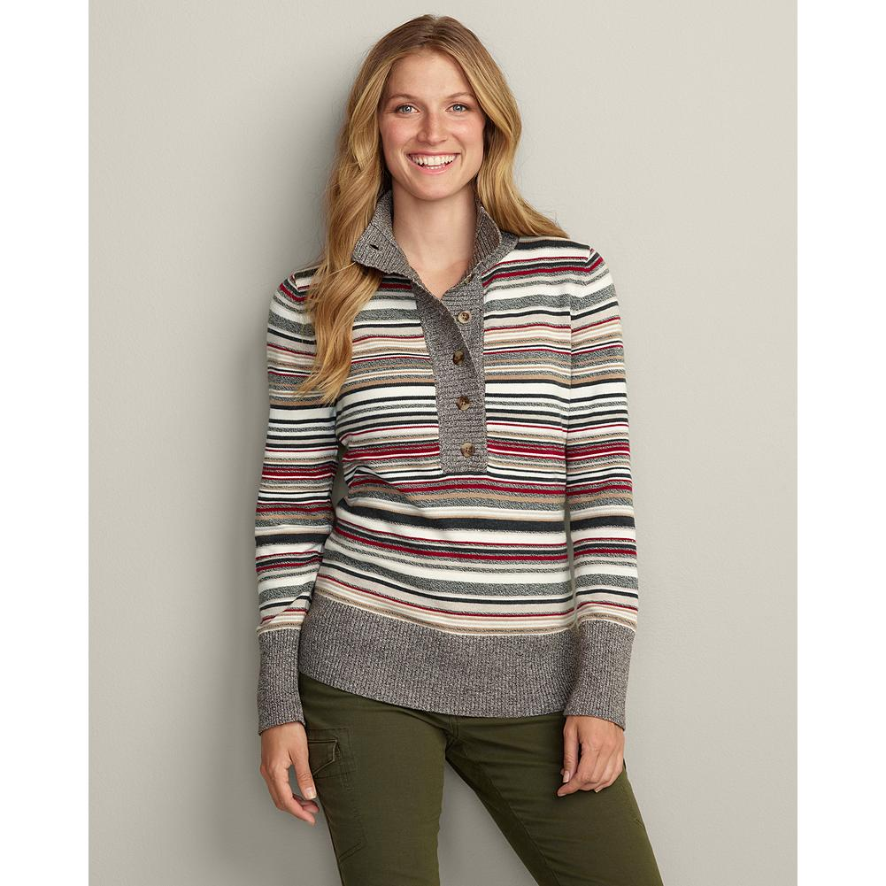 Eddie Bauer Stripe Mockneck Pullover - Unique henley styling and a fun striped pattern make this pullover sweater a standout. - $14.99
