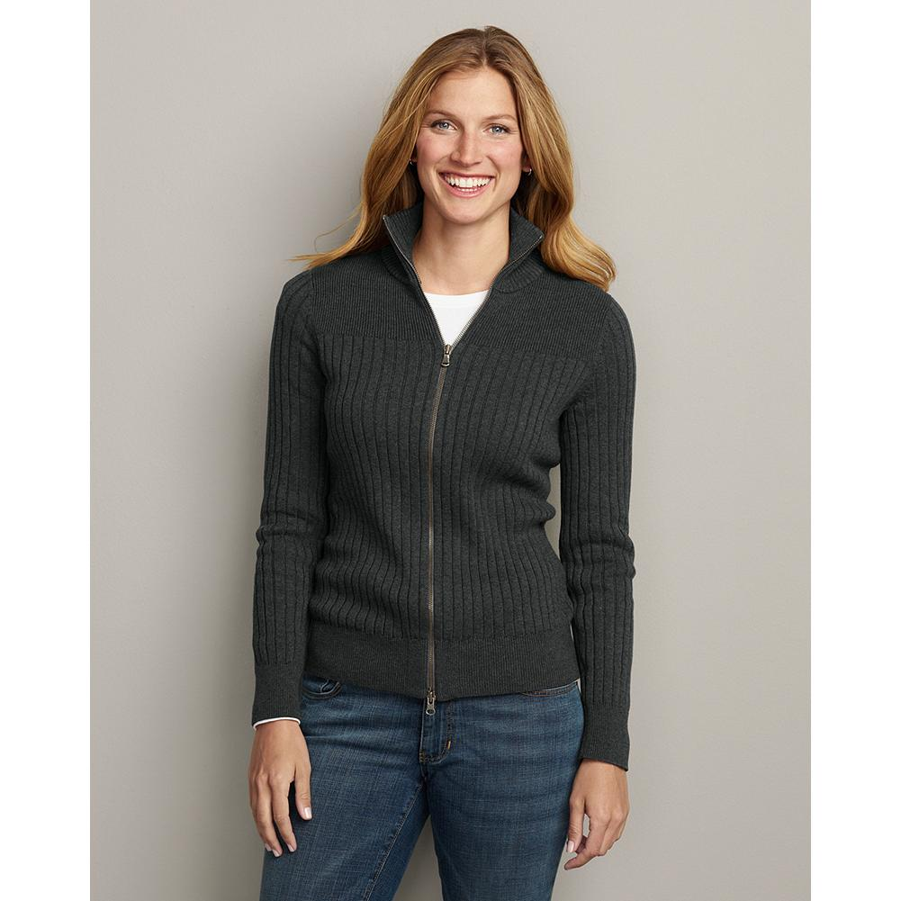 Eddie Bauer Solid Mockneck Zip Sweater - Ultrasoft combed cotton makes our sporty sweater exceptionally cozy. Full zip. Hits at the hip. Classic fit. Machine wash. Imported. - $59.95