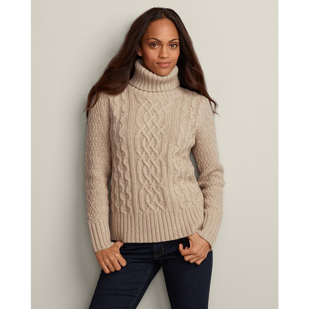 Eddie Bauer Heritage Cable Turtleneck Sweater - Our popular heritage turtleneck sweater is back, and it's as warm and cozy as ever. Beautifully crafted with four different stitches: cable, trellis, basket and rib. - $79.95