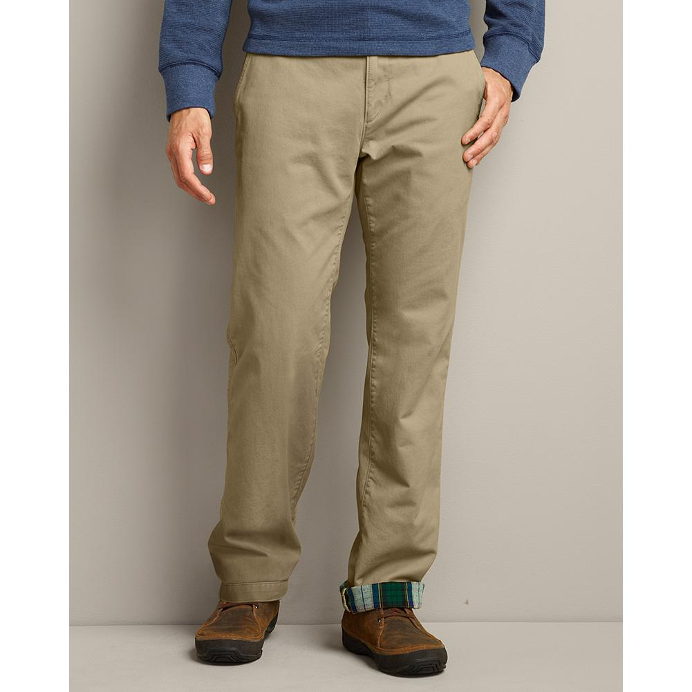 Eddie Bauer Classic Fit Flannel-Lined Chino Pants - Our exclusive Legend Wash makes these durable chino pants soft, supple and comfortable. The chill-chasing flannel lining also makes them a welcome option even on the coldest days. Cotton. Imported. - $29.99