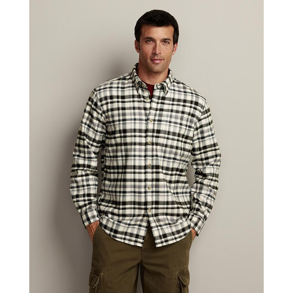 "Eddie Bauer Relaxed Fit Eddie's Favorite Flannel Shirt - The World's Best Flannel-since 2009-this is the softest, most durable flannel shirt you'll find anywhere, at any price. Developed especially for us, the brushed, 2-ply cotton flannel won't shrink, and it's specially treated to hold its shape and resist pilling and fading, even after 50 washings.  Our new Relaxed fit is our most generous one, a roomy 2"" fuller through the chest than our Classic fit. Like all our new fits, it's been reengineered for maximum comfort and easy movement, with back pleats, slightly larger sleeves at biceps/forearms, slightly deeper armholes, ample body length, and a comfortable neck. (Please see Men's Size Chart for more information.) - $14.99"