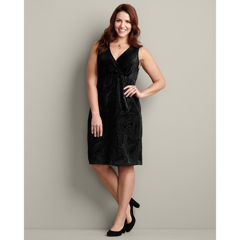 Entertainment Eddie Bauer Velvet Cross-Front Dress - Here's the perfect holiday dress: classic black, elegant and flowing, with a feminine, flattering silhouette. - $9.99