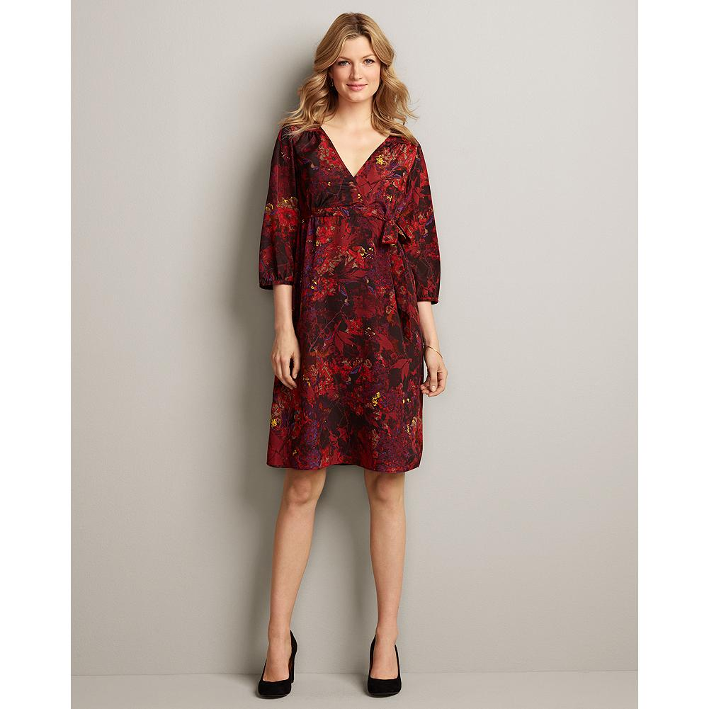 Entertainment Eddie Bauer Nature-Print Dress - A lush botanical print on smooth crepe-de-chine with soft draping makes our dress uniquely beautiful. - $9.99