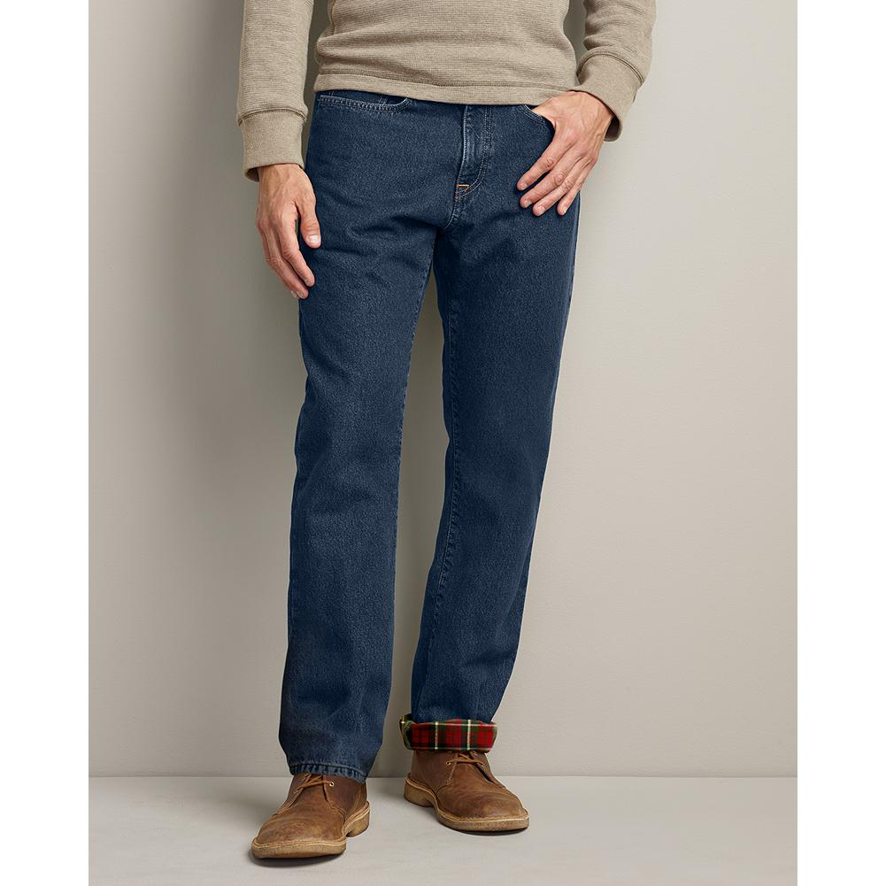 Eddie Bauer Classic Fit Flannel-Lined Jeans - Our best-selling stonewashed denim jeans are now available in a winterized version with soft flannel lining. - $19.99