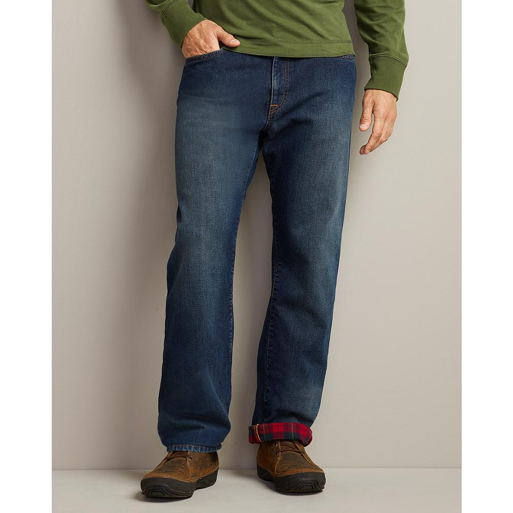 Eddie Bauer Relaxed Fit Flannel-Lined Jeans - Our authentic handcrafted denim, winterized with brushed cotton flannel lining. Sewn into seams from top to bottom, so it stays in place. Sits just below waist; relaxed seat and thigh. Straight leg. Imported. - $29.99