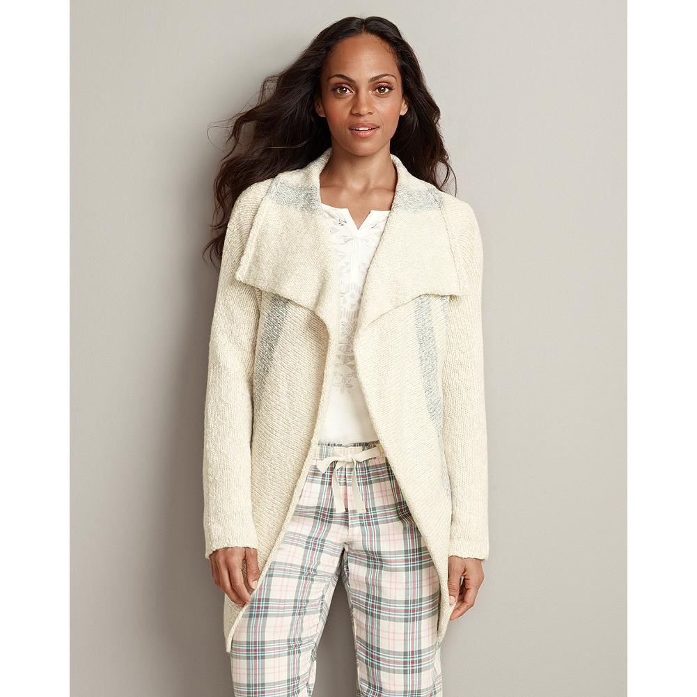 Eddie Bauer Stripe Sleep Cardigan Sweater - Supersoft, warm and incredibly cozy, our sleep cardigan is made with a special pill-resistant yarn blend and is styled to be worn indoors or out. - $29.99