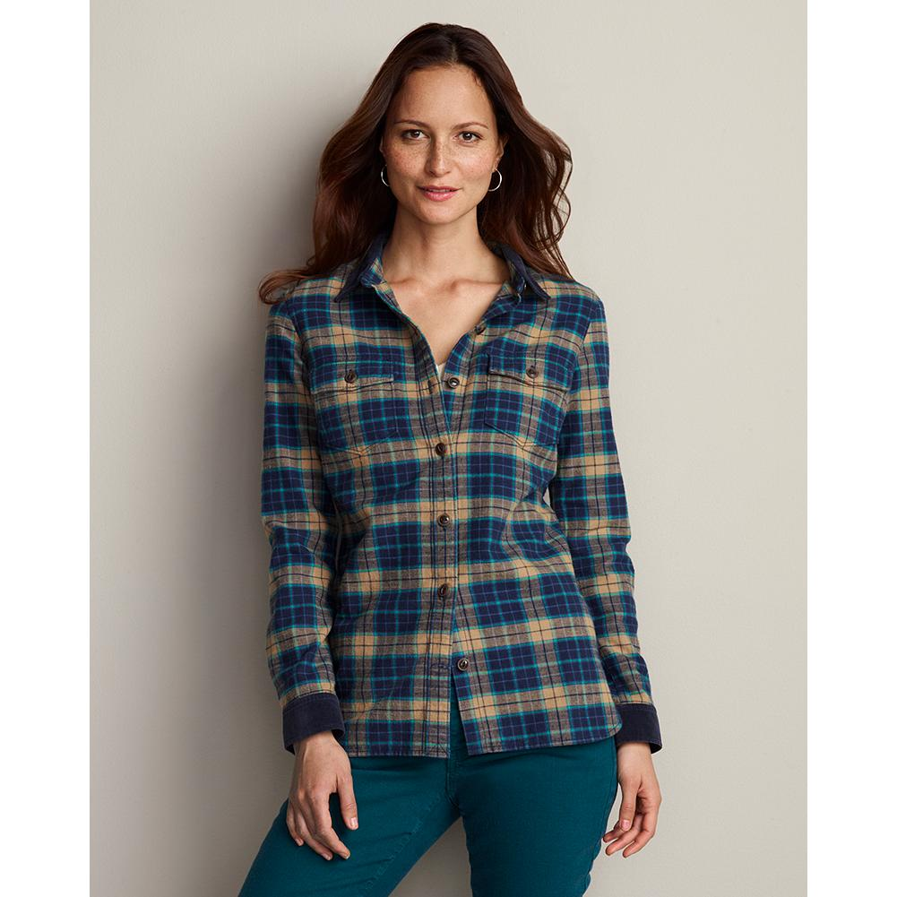 Eddie Bauer Corduroy & Yarn-Dyed Shirt Jacket - A classic fit shirt in 100% cotton flannel that's roomy enough to be worn as a third piece. - $19.99