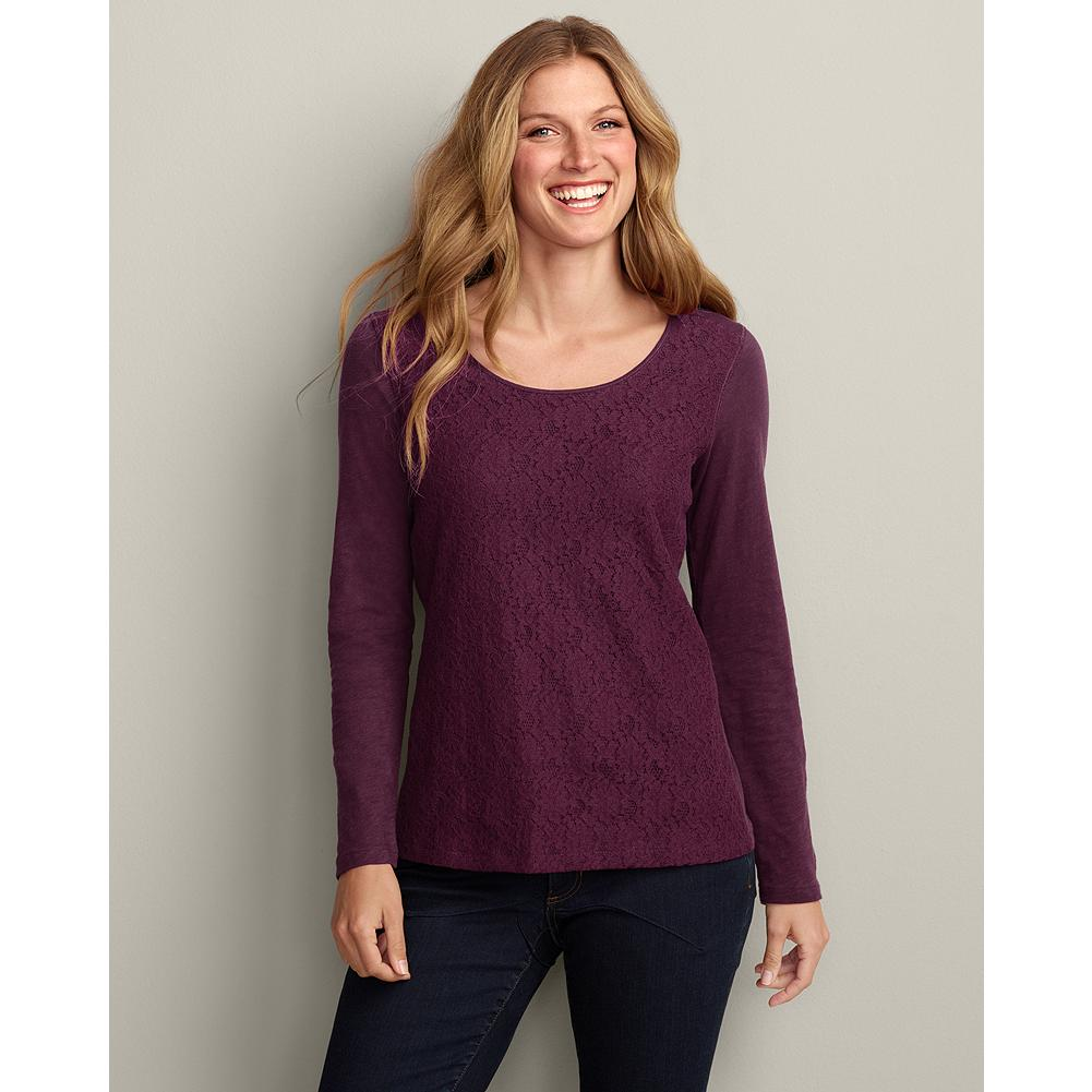 Eddie Bauer Lace-Front T-Shirt - This beautiful scoop-neck T-shirt dresses up or down with grace. - $9.99