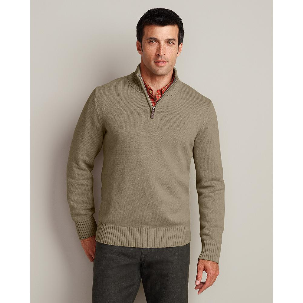 Eddie Bauer Signature Cotton Quarter-Zip Sweater - Soft, breathable, durable yarns make our bestselling quarter-zip sweater an all-season classic. Full-fashioned sleeves for smooth, non-bulky armhole seams. Rib-knit construction at the collar, cuffs, and hem ensure excellent shape retention. - $49.95
