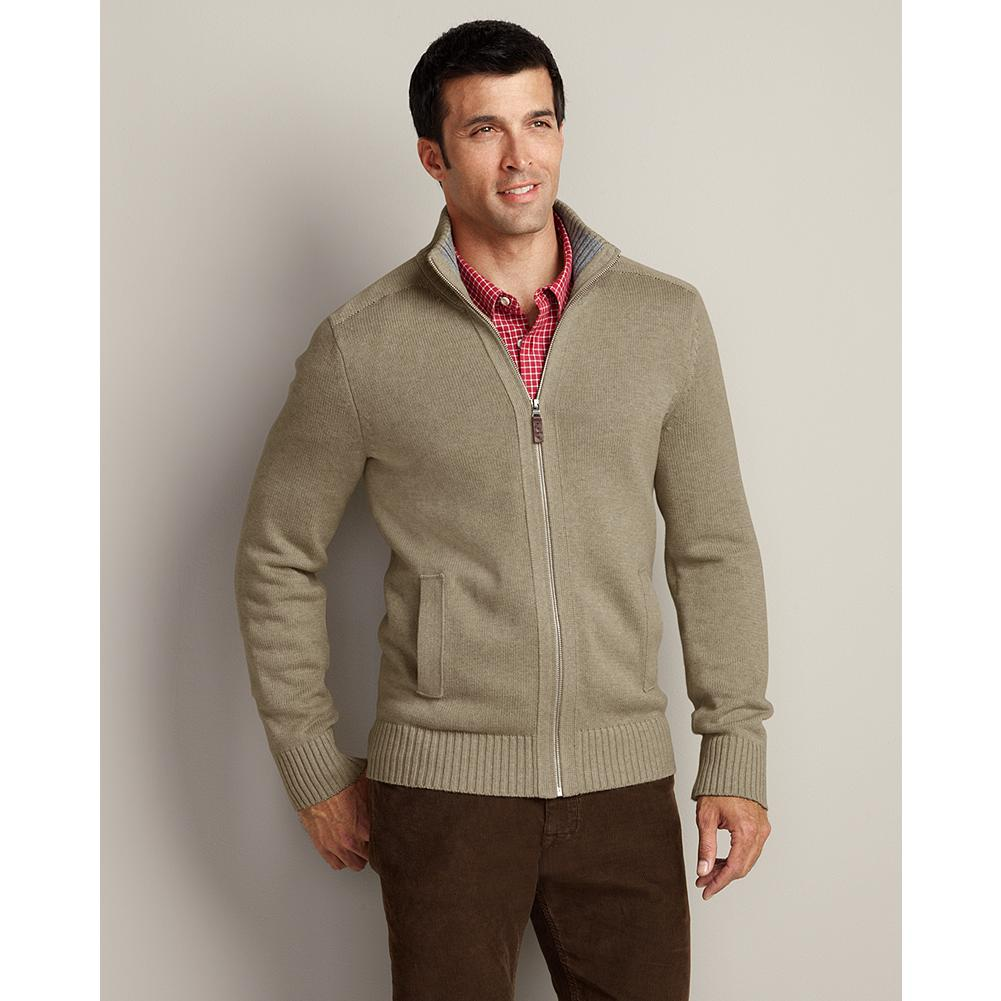 Eddie Bauer Signature Cotton Zip Cardigan - Soft, breathable, durable yarns make our zip-front cardigan sweater an all-season classic. Full-fashioned sleeves for smooth, non-bulky armhole seams. Rib-knit construction at the collar, cuffs, and hem ensure excellent shape retention. - $59.95