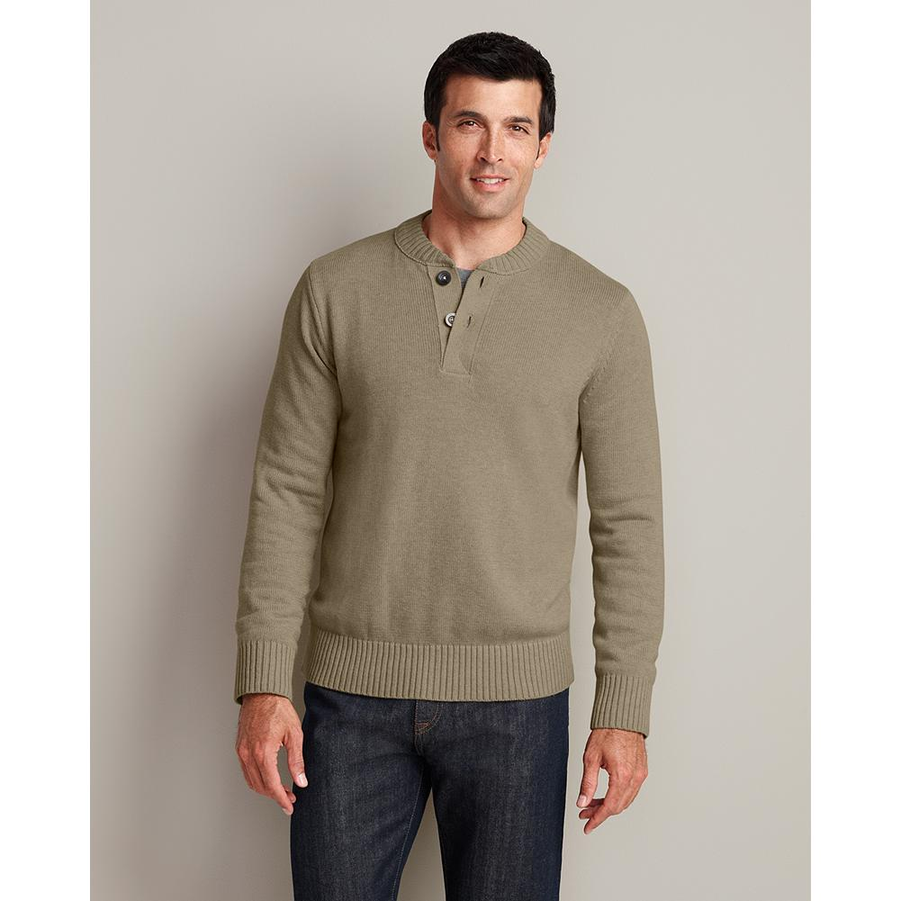 Eddie Bauer Signature Cotton Henley Sweater - Inspired by a traditional military style, our henley sweater is made with soft, breathable, durable yarns that make it an all-season classic. Full-fashioned sleeves for smooth, non-bulky armhole seams. Rib-knit construction at the collar, cuffs, and hem ensure excellent shape retention. - $49.95