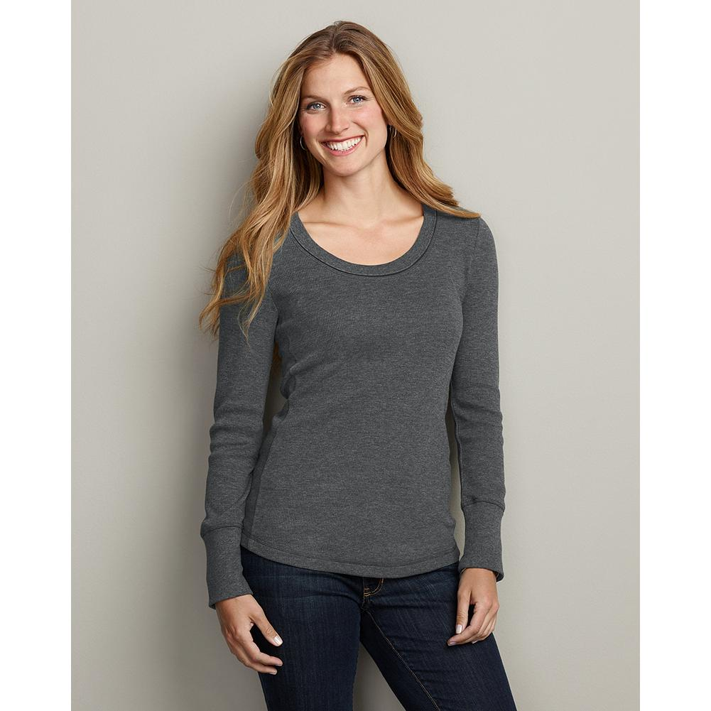 Eddie Bauer Waffle Velvet Trim Scoop-Neck Top - We've updated our best-selling waffle knit top with a feminine scoop neckline and pretty velvet trim. Perfect alone or layered under your favorite sweater or jacket. - $6.99