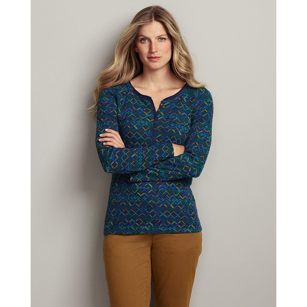 Eddie Bauer Printed Waffle Henley - Your favorite henley, updated for the season with an all-over pattern inspired by winter woods and geoprints. - $9.99