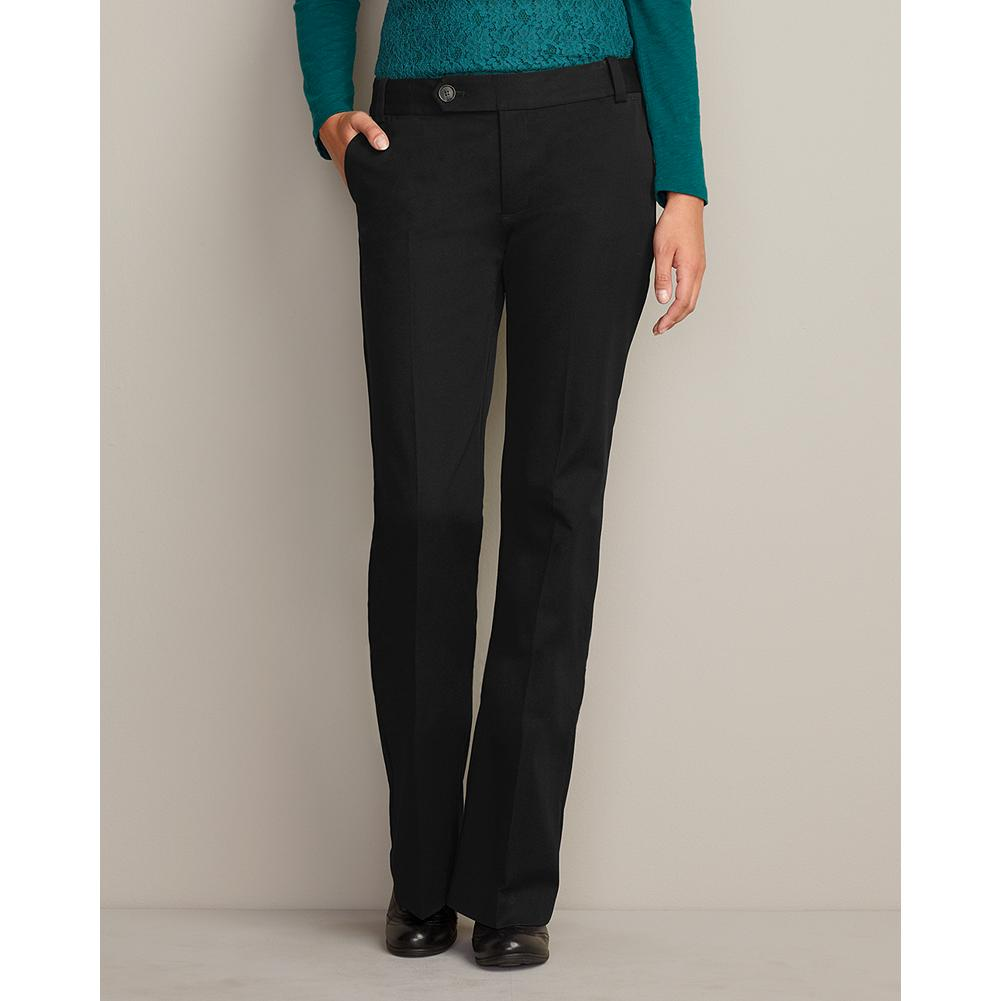Entertainment Eddie Bauer Truly Straight StayShape Stretch Twill Trousers - Straight waist; mid-rise. Less full seat. Smaller thigh. Rectangular body shape. Offering classic style and superb quality, these trousers are crafted in a unique blend of cotton and spandex for perfect shape retention and stretch comfort. Imported.. - $29.99