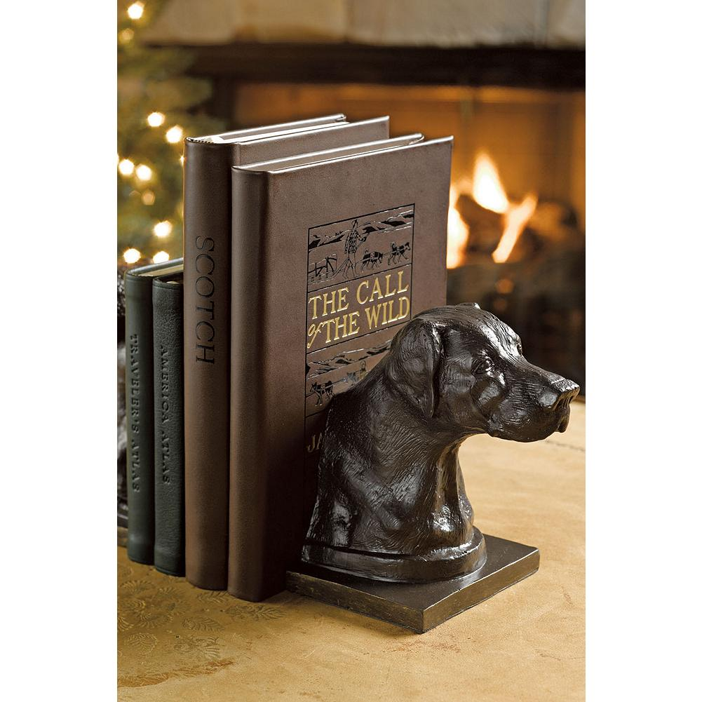 Entertainment Eddie Bauer Lab Bookends - Inspired by Eddie Bauer's beloved Labradors, these charming book ends are cast in iron with great attention and finished with a rich bronze patina. Set of two. Imported. - $29.99