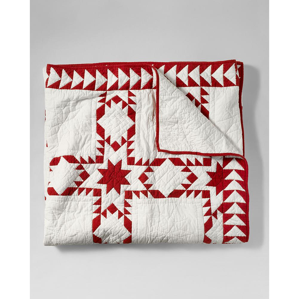 Entertainment Eddie Bauer Holiday Quilt - Traditional patterns in red and white make this cotton quilt a festive addition to your holiday decor. - $269.95