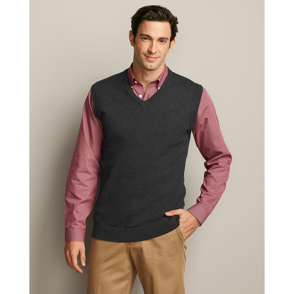 Entertainment Eddie Bauer Sportsman Cotton/Cashmere Sweater Vest - This cotton/cashmere sweater vest is the perfect complement to our button-down wrinkle-free dress shirts and more. - $19.99