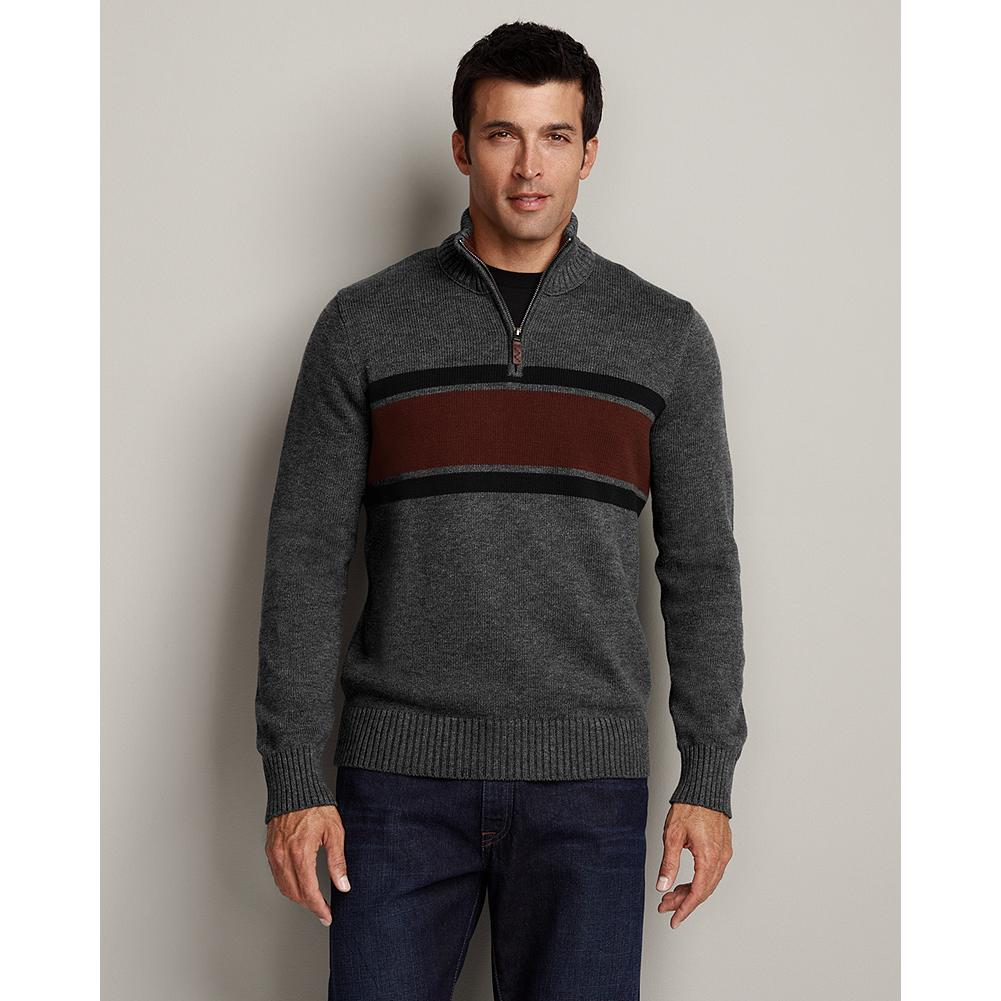 Eddie Bauer Chest Stripe Quarter-Zip Sweater - This version of our best-selling cotton quarter-zip sweater has a classic stripe across the chest. The casual pullover has just the right heft for winter, but never looks or feels bulky. - $14.99